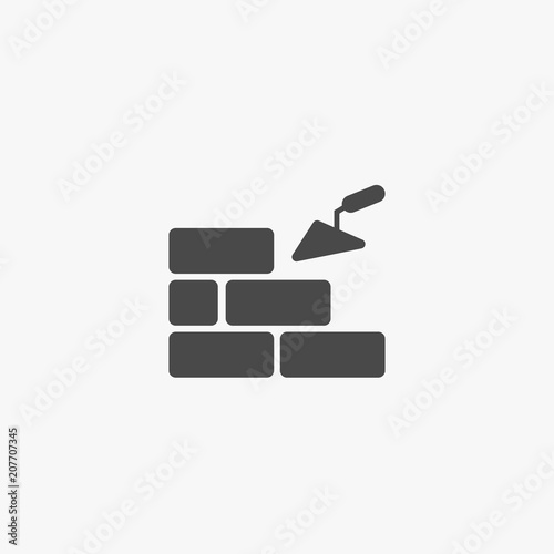 Cuadros en Lienzo Brickwork vector icon building with bricks eps10