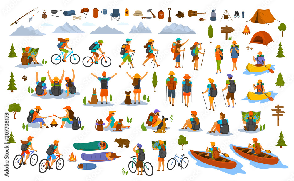 Fototapety, obrazy: collection of hiking trekking people. young man woman couple hikers travel outdoors with mountain bikes kayaks camping, search locations on map, sightseeing discover nature graphic, isolated scenes