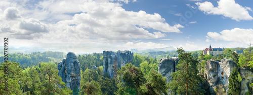 Obraz na plátně Panorama of sandstone rocks in reserve Bohemian Paradise, Czech Republic