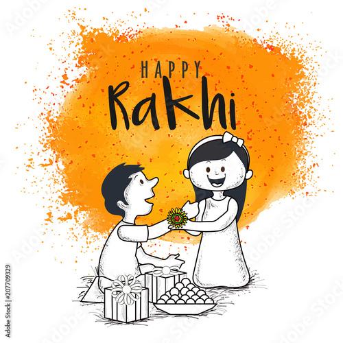 Платно Rakhi, Indian brother and sister festival Raksha Bandhan concept.