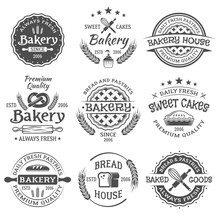 Bakery And Pastries Vintage Vector Black Emblems