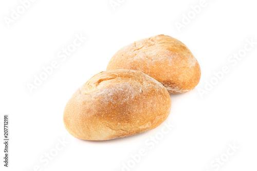 Fresh bread, rolls on white background
