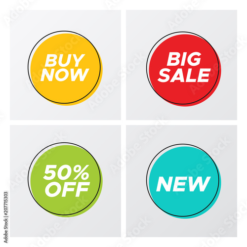 Set of flat abstract sale banner in modern style  Minimal