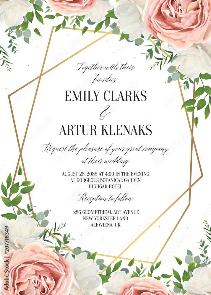 Fototapeta Wedding floral invite, invtation card design. Watercolor blush pink rose, white garden peony flowers blossom, green leaves, greenery plants & golden geometrical frame. Vector romantic, modern template