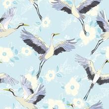 Crane, Pattern, Vector, Illust...