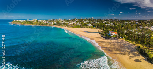 Aerial panoramic images of Dicky Beach, Caloundra, Australia