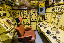 Moscow, Russia - May 04, 2018: Interior Of Russian Soviet Submarine In Museum Of Naval Forces