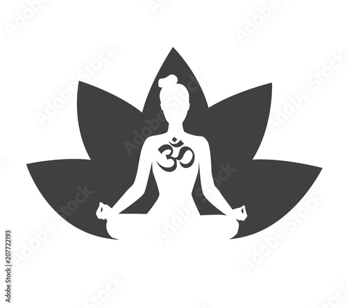 vector black and white illustration with silhouette of meditating woman lotus flower and religious symbol om isolated on white background yoga icon for logo poster banner flyer or card design buy religious symbol om isolated on white
