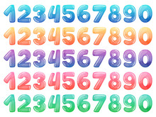Set Of Color Cartoon Numbers. ...