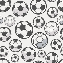 Monochrome Soccer Balls Background. Football Or Soccer Related. Seamless Pattern