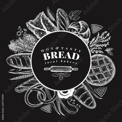 Vector bakery hand drawn illustration on chalk board. Background with bread and pastry. Retro design template. Can be use for menu, packaging.