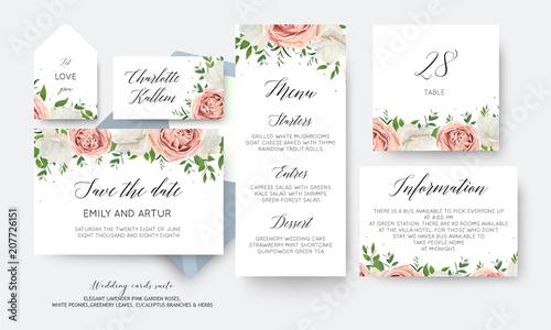 Wedding Floral Save The Date Menu Label Table Number Card Big