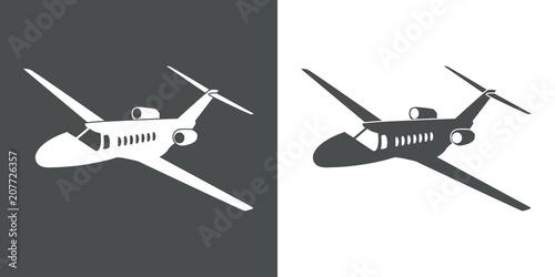 Icono plano avión de negocios espacio negativo en gris y blanco Canvas Print