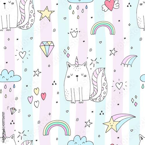 jednolity-wzor-z-recznie-rysowane-slodkie-koty-jednorozca-ilustracja-wektorowa-kot-kreskowka