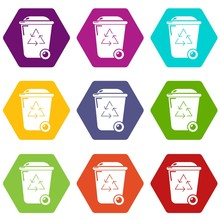 Trash Wheelie Bin Icons 9 Set ...