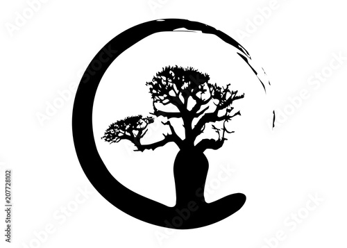 Billede på lærred Boab or Baobab Tree Vector isolated, tree silhouette logo concept icon
