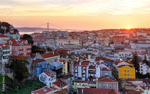 Keuken foto achterwand Centraal Europa Lisbon historic city at sunset, Portugal
