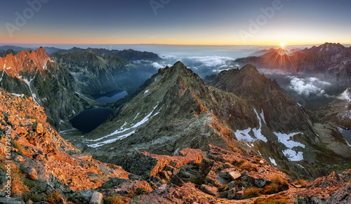 Foto op Plexiglas Bergen Sunset on mountain, Tatras