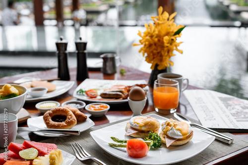 Fotografie, Obraz Setting of breakfast dishes in hotel restaurant