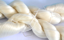 White Raw Silk Extracted From Silk Cocoons That Were Produced By Silkworms.