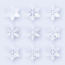 Vector Set Of 9 Paper Cut Snowflakes With Shadow On White Background. New Year And Christmas Design Elements