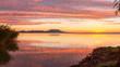 Beautiful Hungarian sunrise landscape from a lake Balaton