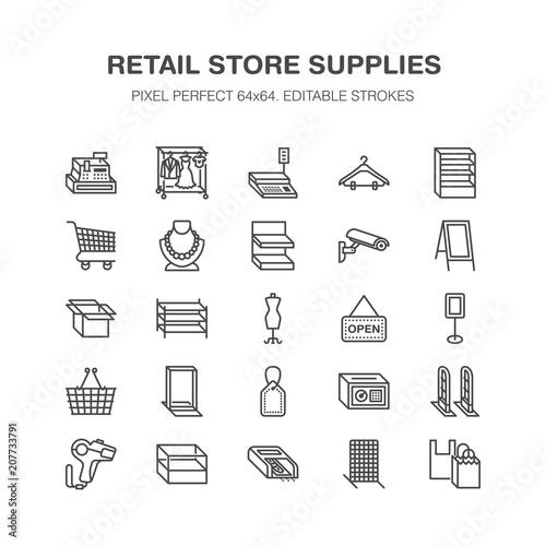 Fotografía  Retail store supplies line icons