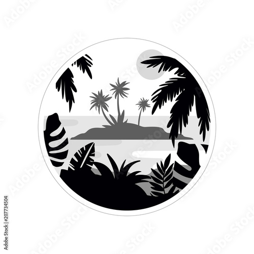 Photo Stands Fantasy Landscape Tropical scenery withisland and palm trees, monochrome landscape in geometric round shape design vector Illustration on a white background