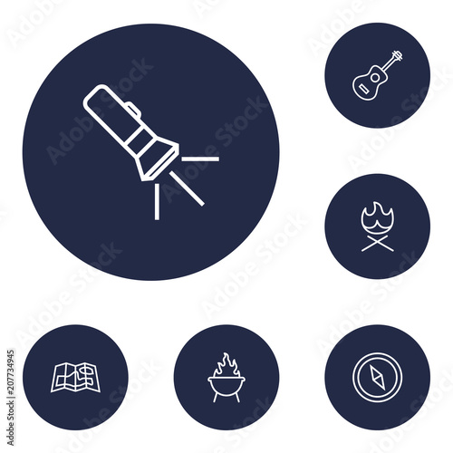 Plagát  Set of 6 picnic icons line style set