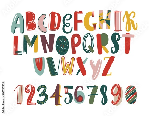 Plakat abecadło - alfabet modern-hand-drawn-latin-font-or-english-alphabet-for-children-decorated-with-scrawl-bright-letters-arranged-in-alphabetical-order-and-figures-isolated-on-white-background-vector-illustration