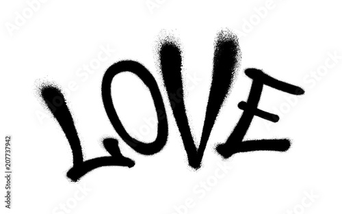 Sprayed love font graffiti with overspray in black over white. Vector illustration.
