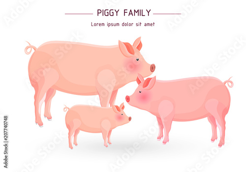 Pig family card Vector. cartoon illustration Canvas Print
