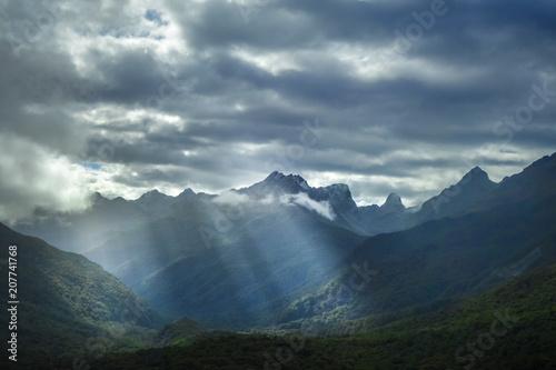 Poster Oceanië Fiordland national park stormy landscape, New Zealand