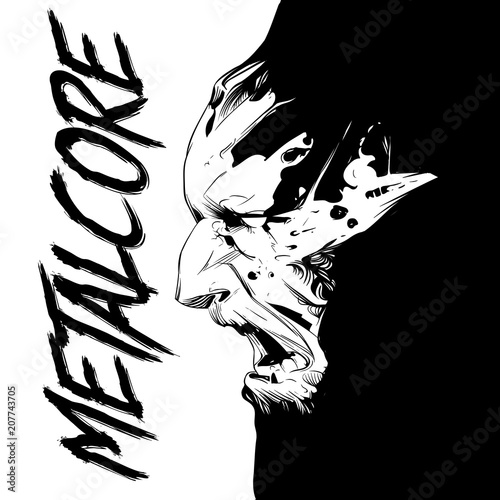 Photo  Black and white poster of the album metacore and face of zombie