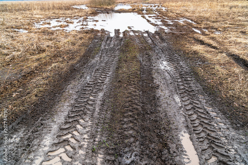Fotografía  Imprint of an off-road vehicle tire on a dirty road