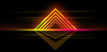 Glowing Lines, Neon Lights, Abstract Background, Virtual Reality, Square Corner, Arch, Ultraviolet, Infrared, Spectrum Vibrant Colors, Laser Show