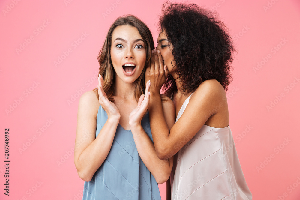 Fototapety, obrazy: Two excited young girls dressed in summer clothes