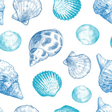 Seashells Seamless Pattern For...