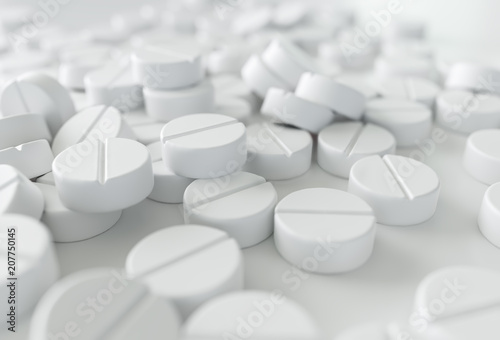 Photo Close-up of a many medications on white background