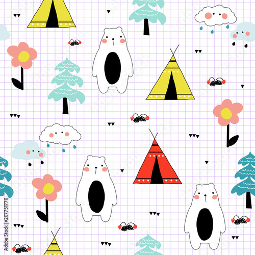 Funny doodle seamless pattern with teepee and bear in the forest Lerretsbilde