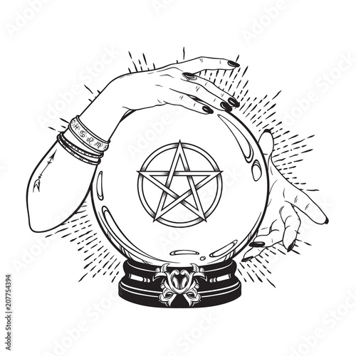 Hand drawn magic crystal ball with pentagram star in hands of fortune teller line art and dot work. Boho chic tattoo, poster or altar veil print design vector illustration.