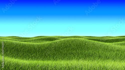 Tuinposter Lichtblauw Green Grass Hills and Blue Sky Landscape Background