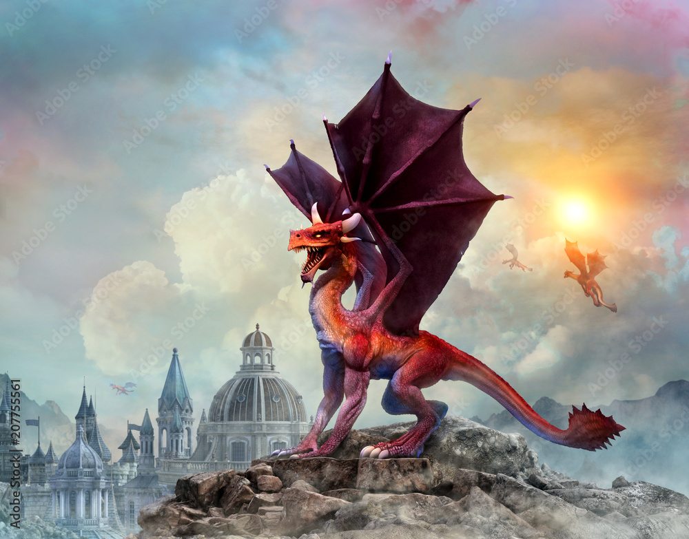 Dragon scene 3D illustration