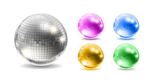 Set Of Disco Balls. Disco Background.