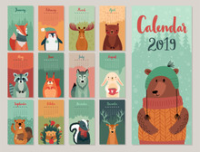 Calendar 2019. Cute Monthly Ca...