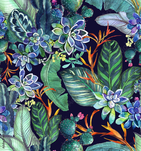 Foto  Tropical seamless pattern with succulents, tropical leaves