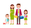 Family Parents and Kids Poster Vector Illustration