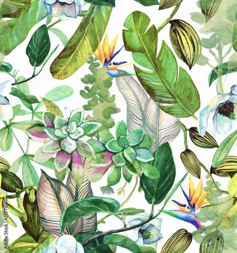 jednolity-wzor-akwarela-z-tropikalnych-kwiatow-magnolii-sukulentow-orchidei-waniliowych-lisci-tropikalnych-lisci-bananowca