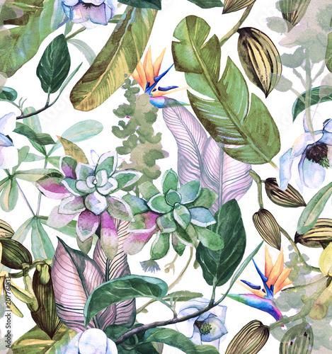 bezszwowy-akwarela-wzor-z-tropikalnymi-kwiatami-magnolia-sukulentem-waniliowa-orchidea-tropikalnymi-liscmi-liscmi-bananowymi