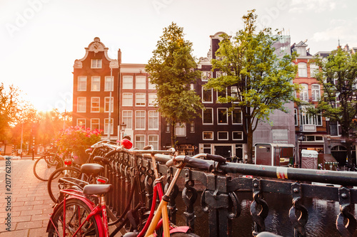 sunrise on the streets and canals of amsterdam Wallpaper Mural